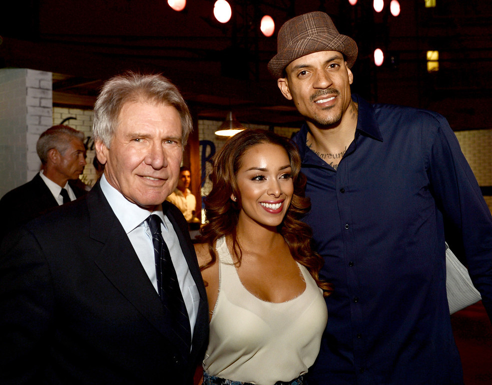 ". Actor Harrison Ford, Gloria Govan and L.A. Clippers basketball player Matt Barnes pose at the after party for the premiere of Warner Bros. Pictures\' and Legendary Pictures\' ""42\"" at the Chinese Theatre on April 9, 2013 in Los Angeles, California.  (Photo by Kevin Winter/Getty Images)"