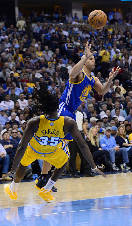 . DENVER, CO. - APRIL 23: Denver Nuggets small forward Kenneth Faried (35) commits a blocking foul against Golden State Warriors small forward Richard Jefferson (44) in the second quarter. The Denver Nuggets took on the Golden State Warriors in Game 2 of the Western Conference First Round Series at the Pepsi Center in Denver, Colo. on April 23, 2013. (Photo by AAron Ontiveroz/The Denver Post)