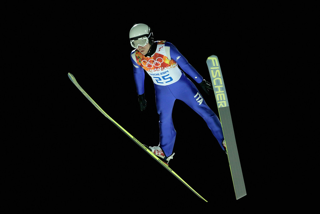 . Davide Bresadola of Italy jumps during the Men\'s Large Hill Individual Qualification on day 7 of the Sochi 2014 Winter Olympics at the RusSki Gorki Ski Jumping Center on February 14, 2014 in Sochi, Russia.  (Photo by Adam Pretty/Getty Images)
