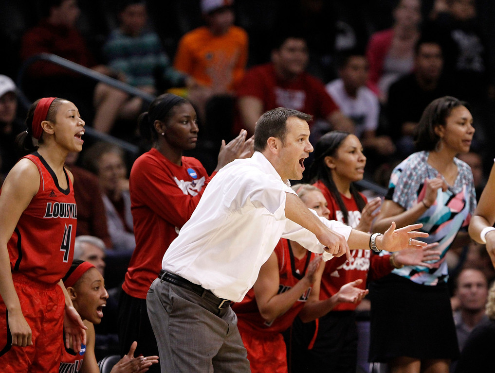 . Louisville coach Jeff Walz gestures during the second half of the regional final game against Tennessee in the NCAA women\'s college basketball tournament in Oklahoma City, Tuesday, April 2, 2013. Louisville won 86-78. (AP Photo/Alonzo Adams)