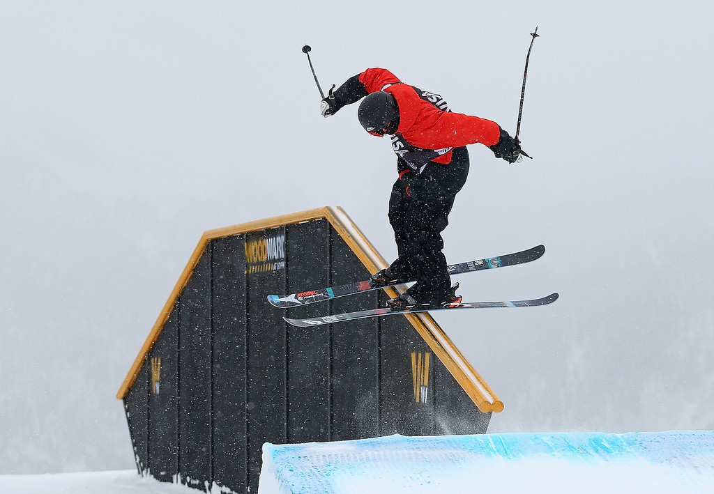 . Gus Kenworthy competes during finals for the mens FIS Ski  Slopestyle World Cup at U.S. Snowboarding and Freeskiing Grand Prix on December 21, 2013 in Copper Mountain, Colorado.  (Photo by Mike Ehrmann/Getty Images)