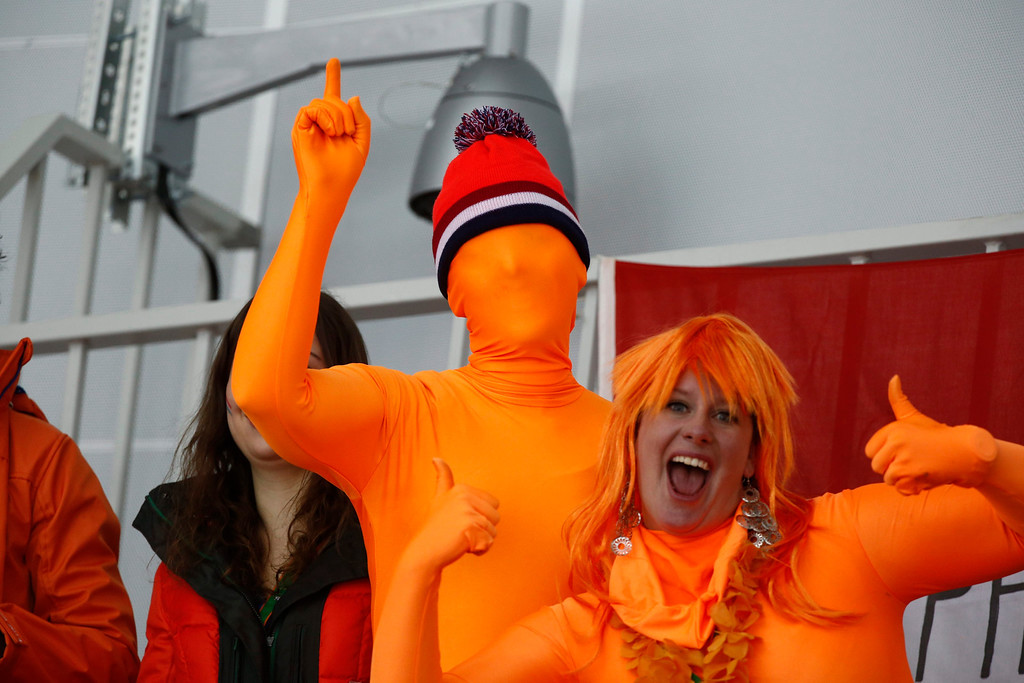 . Dutch spectators during the 1000m Women\'s Speed Skating event in the Adler Arena at the Sochi 2014 Olympic Games, Sochi, Russia, 13 February 2014.  EPA/VINCENT JANNINK