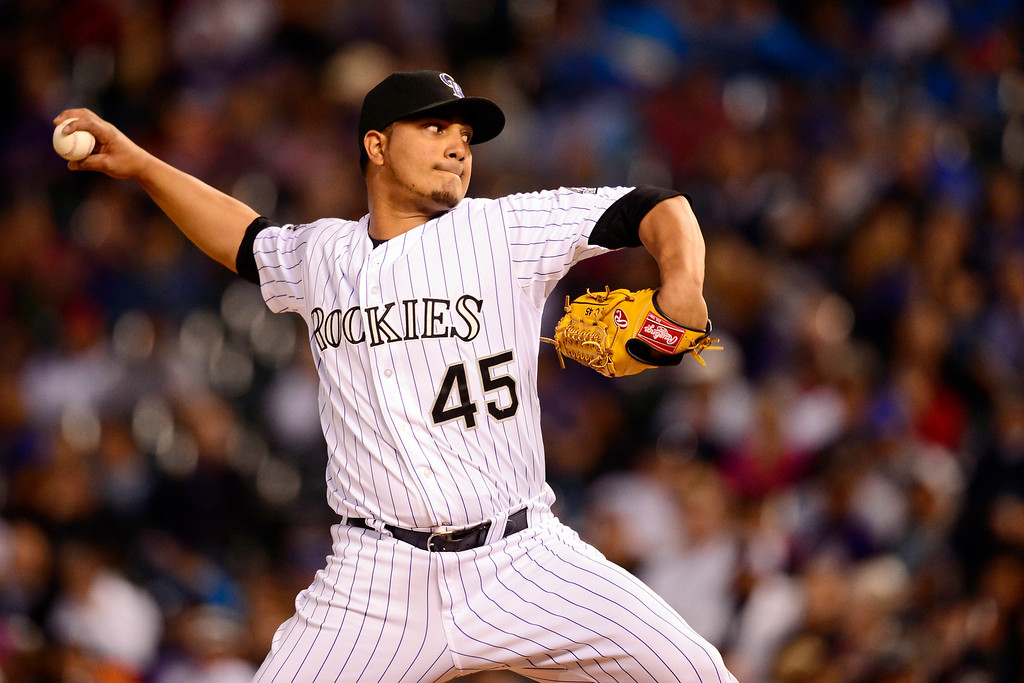. DENVER, CO - MAY 21: Jhoulys Chacin (45) of the Colorado Rockies pitched one-hit baseball until he gave up four runs in the seventh to the Arizona Diamondbacks during action at Coors Field. The Arizona Diamondbacks visited the Colorado Rockies. (Photo by AAron Ontiveroz/The Denver Post)