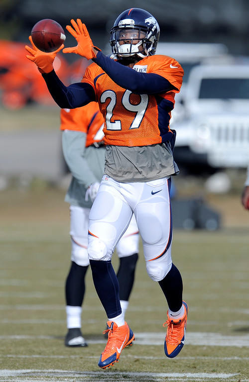 . Denver Broncos Michael Huff (29) catches a pass during practice December 18, 2013 at Dove Valley (Photo by John Leyba/The Denver Post)