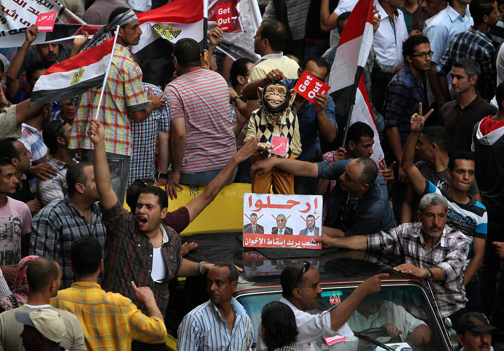 ". Anti-Mursi protesters hold up a toy monkey with a sign that reads ""Leave\"", during a massive protest in Alexandria, June 30, 2013.  Egyptians poured onto the streets on Sunday, swelling crowds that opposition leaders hope will number into the millions by evening and persuade Islamist President Mohamed Mursi to resign. REUTERS/Asmaa Waguih"