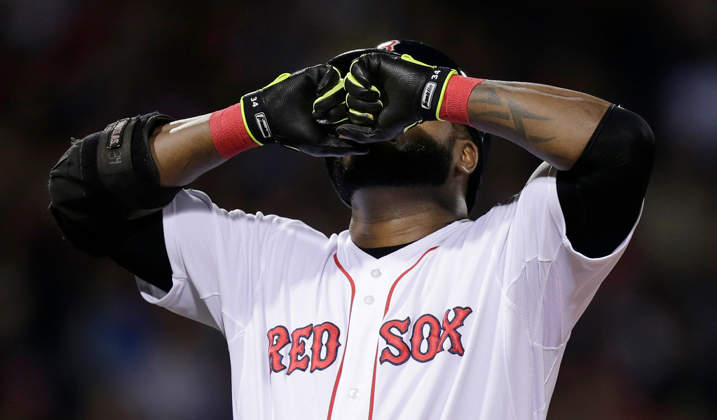 . Boston Red Sox\'s David Ortiz reacts after popping out to Detroit Tigers second baseman Omar Infante in the fourth inning during Game 6 of the American League baseball championship series on Saturday, Oct. 19, 2013, in Boston. (AP Photo/Charles Krupa)