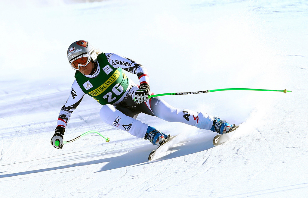 . Austria\'s Andrea Fischbacher makes a turn during the women\'s World Cup Downhill skiing event Friday, Nov. 29, 2013, in Beaver Creek, Colo. (AP Photo/Alessandro Trovati)