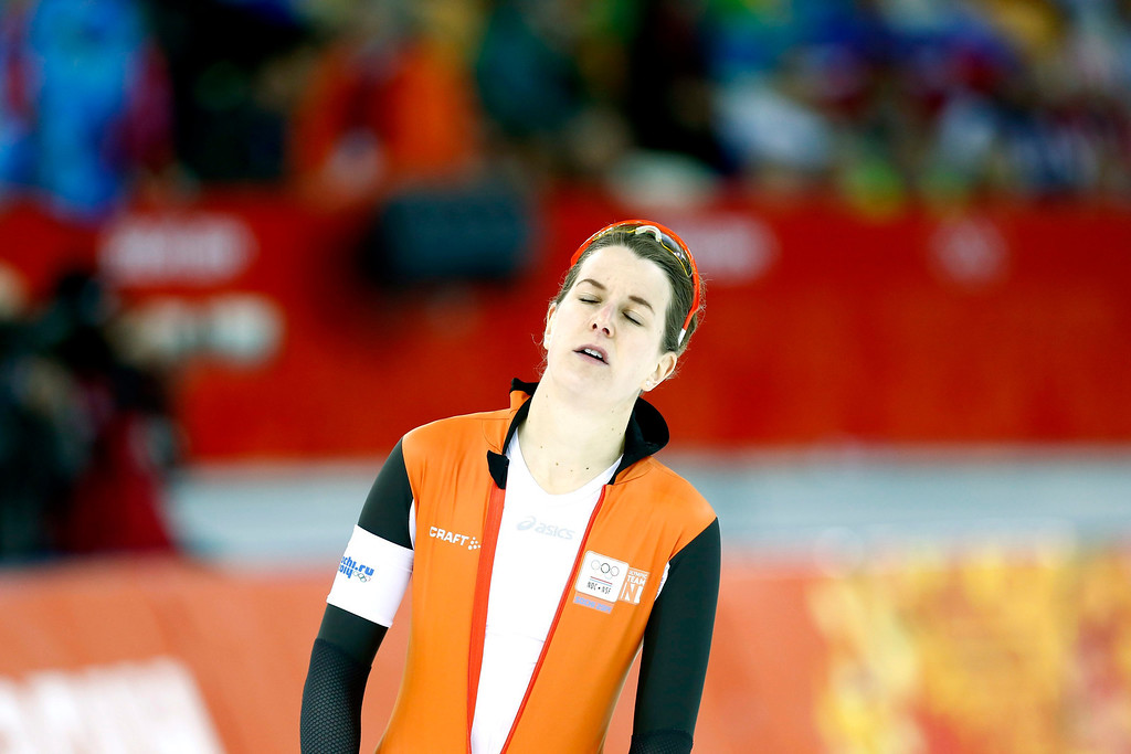 . Irene Wust of the Netherlands reacts during the women\'s 1500m Speed Skating event in the Adler Arena at the Sochi 2014 Olympic Games, Sochi, Russia.  EPA/VINCENT JANNINK