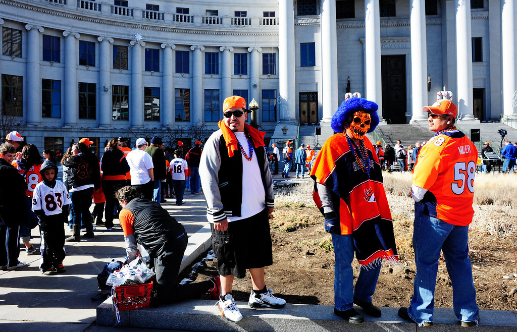 . Broncos fans line up before the start of a rally to send of the team, in front of the City and County Building in Denver, Colorado, Sunday, January 26, 2014. The noon rally brought out scores of supporters and included an appearance by Governor John Hickenlooper and Denver Mayor Michael Hancock.  (Photo By Brenden Neville / Special to The Denver Post)