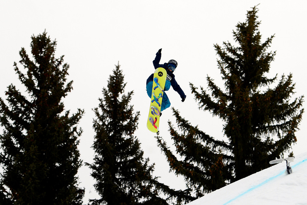 . ASPEN, CO - JANUARY 26: Kjersti Oestgaard Buaas grabs air during the women\'s snowboard slopestyle final. X Games Aspen Buettermilk Mountain Aspen January 26, 2013 (Photo By AAron Ontiveroz / The Denver Post)