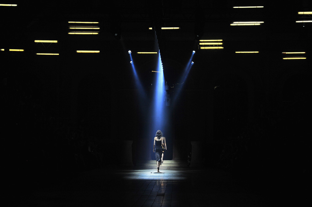 . PARIS, FRANCE - SEPTEMBER 26:  A model walks the runway during Lanvin show as part of the Paris Fashion Week Womenswear  Spring/Summer 2014 on September 26, 2013 in Paris, France.  (Photo by Dominique Charriau/Getty Images)
