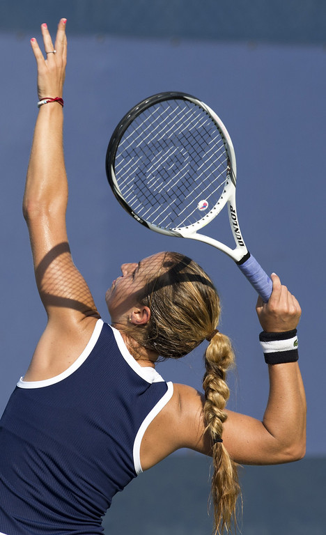 . Dominikia Cibulkova of Slovakia serves to Elina Svitolina of the Ukraine during their US Open 2013 women\'s singles match at the USTA Billie Jean King National Center August 27, 2013  in New York. DON EMMERT/AFP/Getty Images