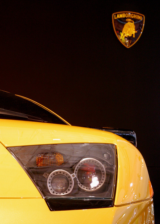 . The Lamborghini Murcielago on display at the Sydney International Motor Show on October 17, 2002 in Sydney, Australia. The Murcielago is Lamborgini\'s supercar capable of speeds in excess of 205 mph, drawn from its 580hp 6.2ltr V12 engine. (Photo by Cameron J Spencer/Getty Images)