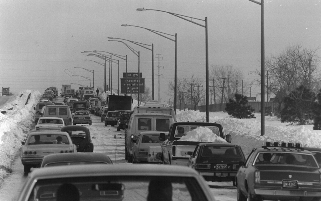 . Lines of traffic headed for Stapleton International Airport after the Blizzard of \'82. Denver Post Library Archive