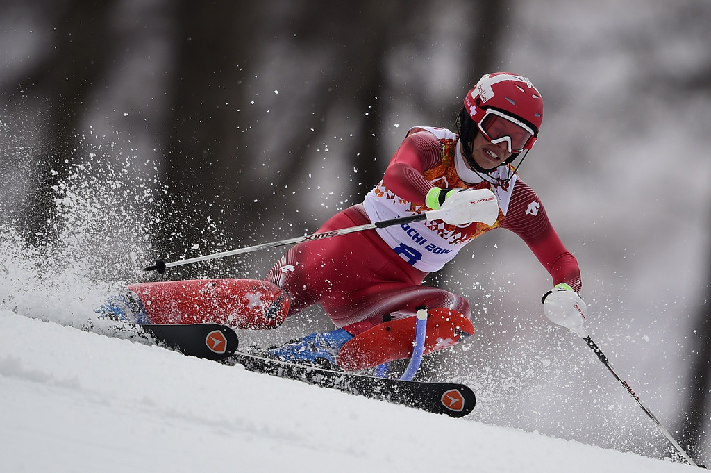 . Switzerland\'s Dominique Gisin skis during the Women\'s Alpine Skiing Super Combined Slalom at the Rosa Khutor Alpine Center during the Sochi Winter Olympics on February 10, 2014.  AFP PHOTO / OLIVIER MORIN/AFP/Getty Images