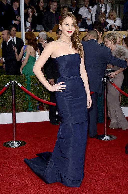 . Actress Jennifer Lawrence arrives at the 19th Annual Screen Actors Guild Awards held at The Shrine Auditorium on January 27, 2013 in Los Angeles, California.  (Photo by Frazer Harrison/Getty Images)