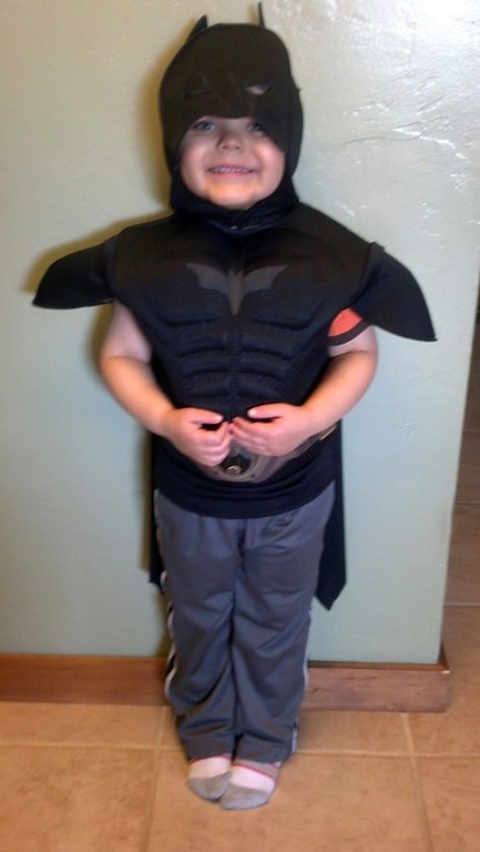 . This undated image released by Make-A-Wish Greater Bay Area, shows five-year-old Miles Scott dressed as batman.  With the help of the Make-A-Wish Foundation and the city of San Francisco, 5-year-old Miles Scott, aka Batkid, will rescue a woman from cable car tracks and capture the evil Riddler as he robs a downtown bank. Miles, who lives in Tulelake in far Northern California, was diagnosed with leukemia when he was 18 months old, ended treatments in June and is in remission. (AP Photo/Make-A-Wish Greater Bay Area)