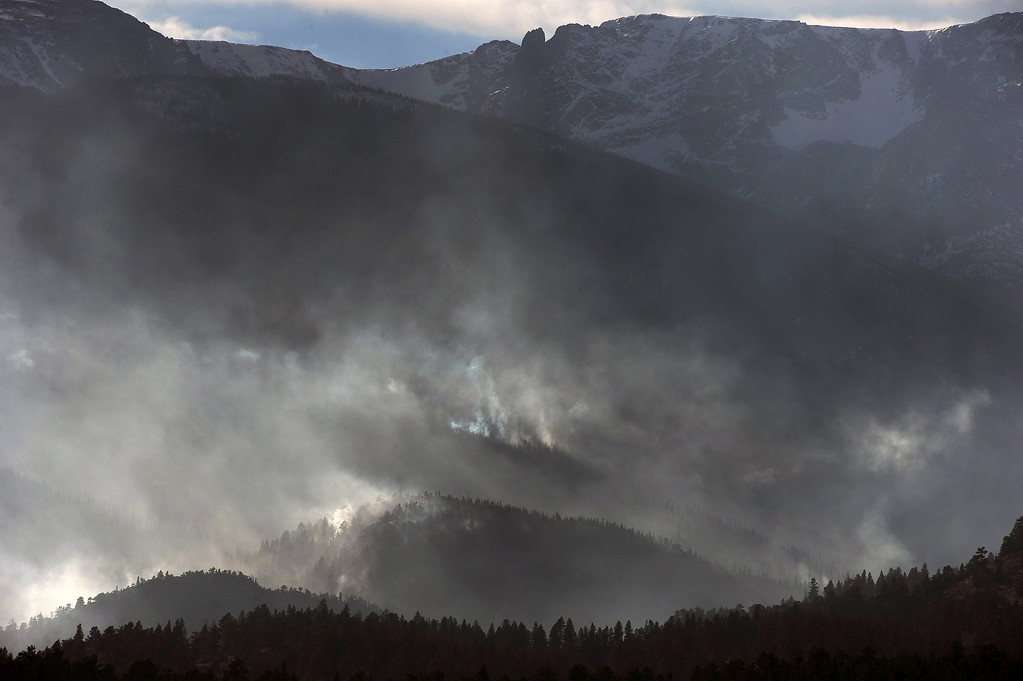 . Despite snow higher up on the north slopes The Fern Lake Fire burns in Rocky Mountain National Park on December 2, 2012. The Fern Lake Fire, which has been burning in Rocky Mountain National Park since October, kicked up yesterday and forced the evacuation of hundreds of homes east of the fire. Helen H. Richardson, The Denver Post