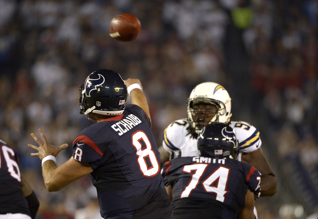 . Matt Schaub #8 of the Houston Texans throws the ball against the San Diego Chargers on September 9, 2013 at Qualcomm Stadium in San Diego, California. (Photo by Donald Miralle/Getty Images)