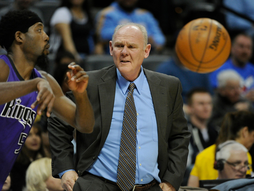 . DENVER, CO. - MARCH 22: Nuggets coach George Karl took a close look at John Salmons (5) of the Sacramento Kings in the first half. The Denver Nuggets hosted the Sacramento Kings Saturday night, March 23, 2013 at the Pepsi Center. (Photo By Karl Gehring/The Denver Post)