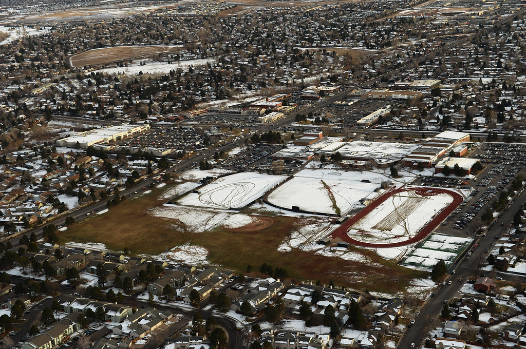 . LITTLETON, CO. DECEMBER 13: Aerial view of Arapahoe High School where a student  carried a shotgun  and asked where to find a specific teacher was and  opened fire in Centennial, Colorado. December 13, 2013. (Photo by Hyoung Chang/The Denver Post)
