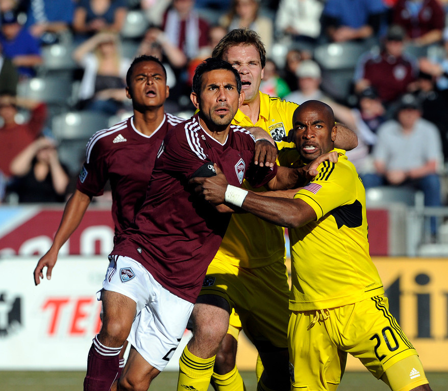 . Rapids Pablo Mastroeni battles with Crew Emilio Renteria  during first  half action between the Colorado Rapids and the Columbus Crew at Dick\'s Sporting Goods Park in Commerce City, CO, Saturday, March 10, 2012. Craig F. Walker, The Denver Post