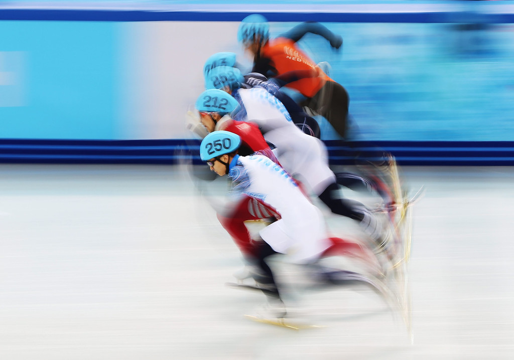 . Victor An (no.250) of Russia and fellow competitors at the start of the men\'s 1000m A Final at the Short Track events in the Iceberg Skating Palace at the Sochi 2014 Olympic Games, Sochi, Russia, 15 February 2014. An won gold.  EPA/HANNIBAL HANSCHKE