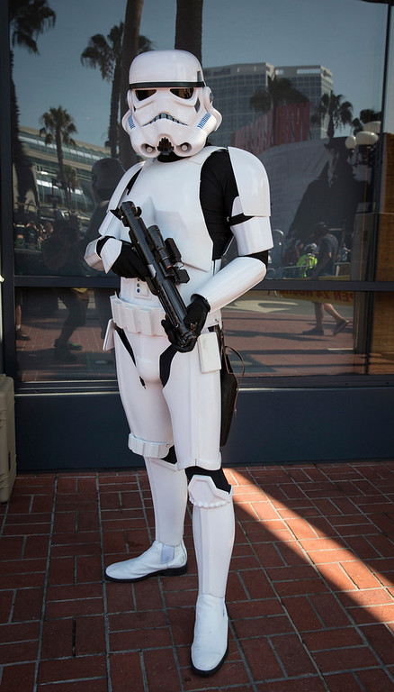 ". Cosplayer Michael Qoyawayma poses in his ""Storm Trooper TK9729\"" costume, inspired by the Stormtroopers from the \""Star Wars\"" movies, during the 2013 San Diego Comic-Con (SDCC) International in San Diego, California July 18, 2013. REUTERS/Fred Greaves"