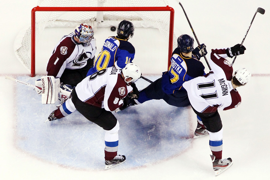 . St. Louis Blues left wing Andy McDonald (10) scores past Colorado Avalanche goaltender Semyon Varlamov while being pressured by defenseman Jan Hejda (8) during the second period of their NHL hockey game, Tuesday, April 23, 2013, in St. Louis. The Blues won 3-1. (AP Photo/St. Louis Post-Dispatch, Chris Lee)