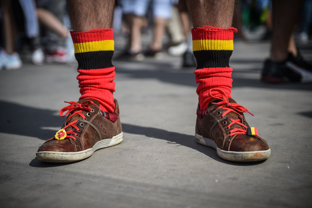 . Belgian supporters gather outside the Mineirao Stadium in Belo Horizonte, Brazil on June 17, 2014 before the match Belgium vs Algeria for the Group H of the FIFA World Cup Brazil 2014. GUSTAVO ANDRADE/AFP/Getty Images