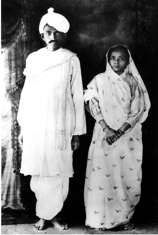 . Mohandas K. Gandhi poses with his wife, Kasturba, on their return to India from South Africa in 1915.  (AP Photo)