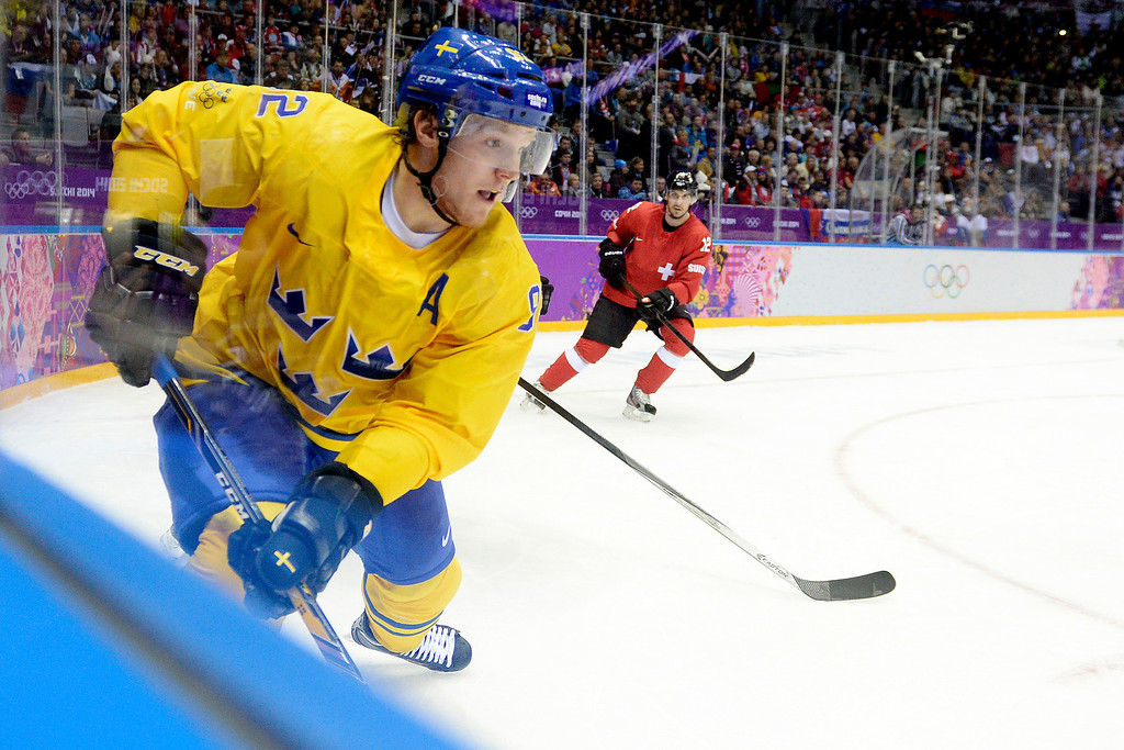 . Sweden\'s Gabriel Landeskog controls the puck against Switzerland during the action at Bolshoy Arena. Sochi 2014 Winter Olympics on Friday, February 14, 2014. (Photo by AAron Ontiveroz/The Denver Post)