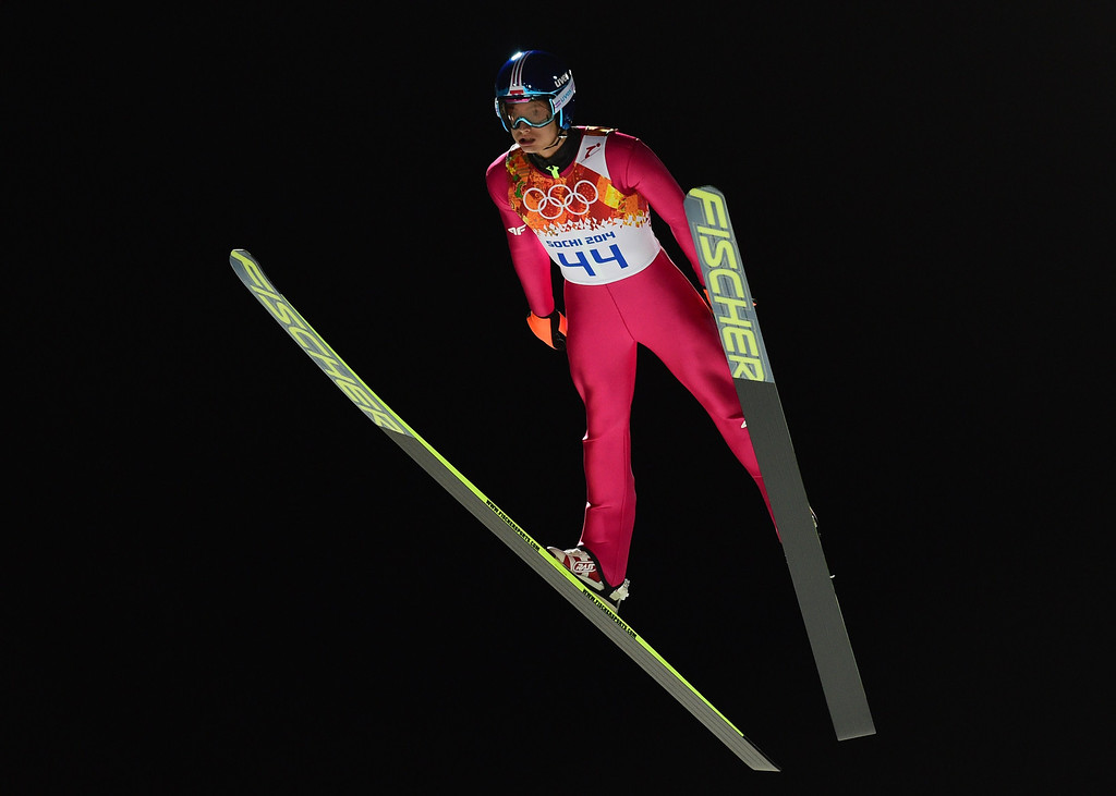 . Poland\'s Maciej Kot competes during the trial jump of the Men\'s Ski Jumping Large Hill Individual qualification at the RusSki Gorki Jumping Center during the Sochi Winter Olympics on February 14, 2014 in Rosa Khutor near Sochi.  AFP PHOTO / JOHN MACDOUGALL/AFP/Getty Images