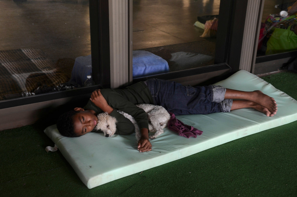 . A child lies with his dog at a shelter set up for people affected by Tropical Storm Manuel in the city of Acapulco, Mexico, Tuesday Sept. 17, 2013. The death toll rose to 47 Tuesday from the unusual one-two punch of a tropical storm and a hurricane hitting Mexico at nearly the same time. Authorities scrambled to get help into, and stranded tourists out of, the cutoff resort city. (AP Photo/Bernandino Hernandez)