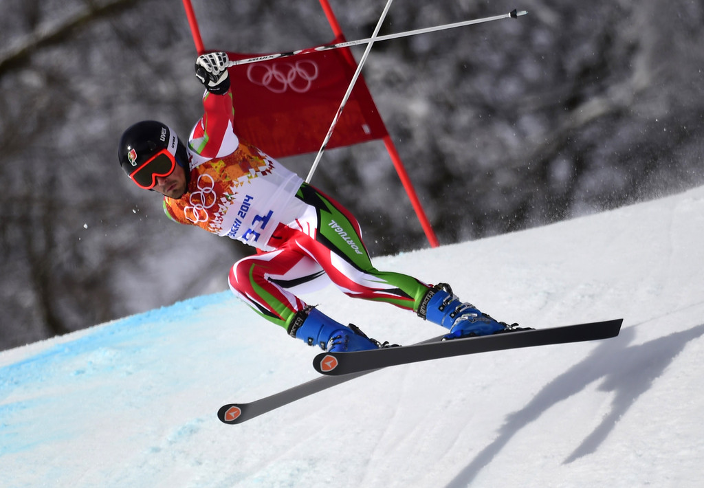. Portugal\'s Arthur Hanse competes in the Men\'s Alpine Skiing Giant Slalom Run 1 at the Rosa Khutor Alpine Center during the Sochi Winter Olympics on February 19, 2014.  AFP PHOTO / OLIVIER MORIN/AFP/Getty Images