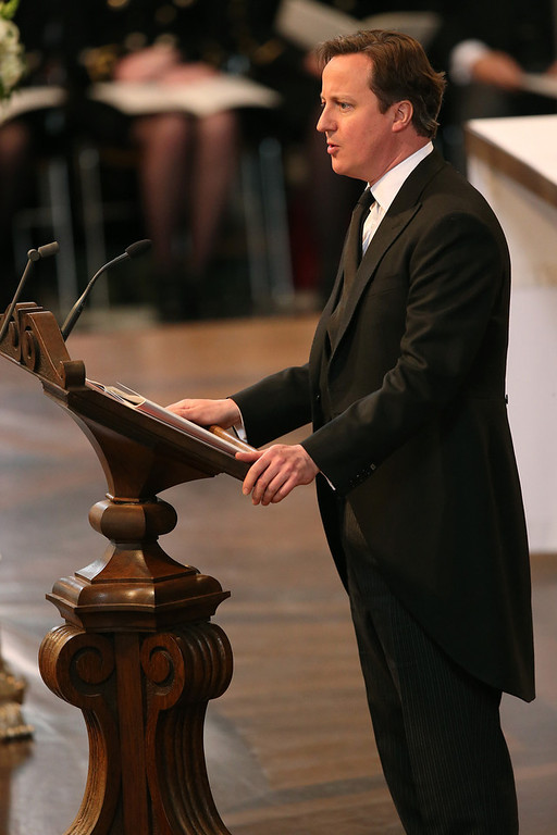 . British Prime Minister David Cameron gives a reading during the ceremonial funeral of British former prime minister Margaret Thatcher at St Paul\'s Cathedral in central London on April 17, 2013. The funeral of Margaret Thatcher took place on April 17, with Queen Elizabeth II leading mourners from around the world in bidding farewell to one of Britain\'s most influential and divisive prime ministers.  Christopher Furlong/AFP/Getty Images