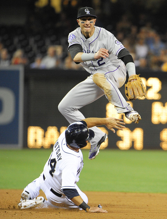 . SAN DIEGO, CA - SEPTEMBER 6: Troy Tulowitzki #2 of the Colorado Rockies jumps over Mark Kotsay #14 of the San Diego Padres as he turns a double play during the fifth inning of a baseball game at Petco Park on September 6, 2013 in San Diego, California.  (Photo by Denis Poroy/Getty Images)