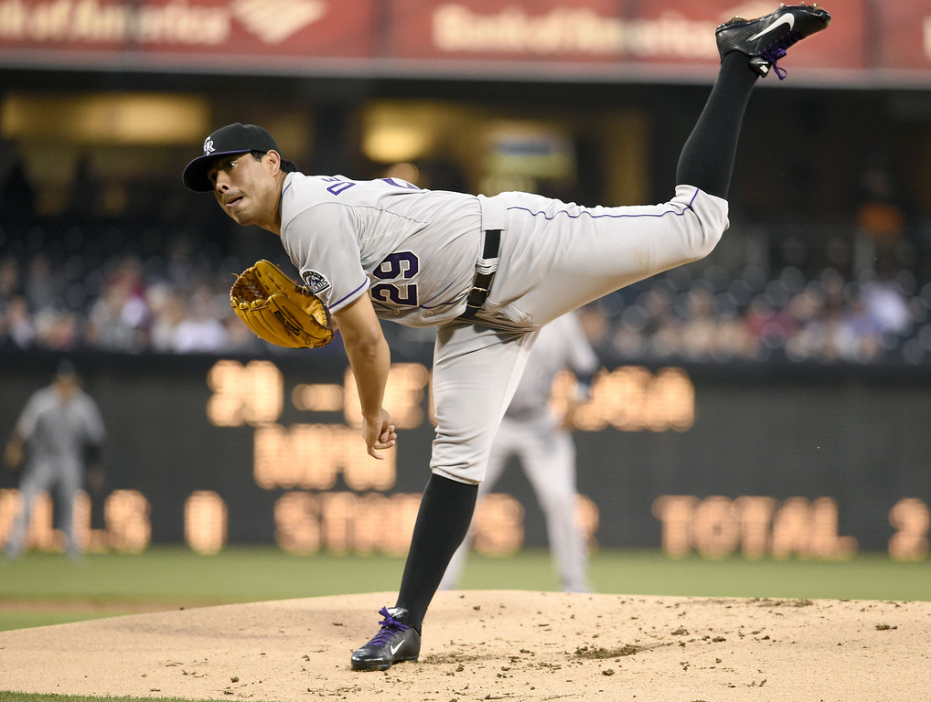 . SAN DIEGO, CA - APRIL 16:  Jorge De La Rosa #29 of the Colorado Rockies pitches during the first inning of a  baseball game against the San Diego Padres at Petco Park April 16, 2014 in San Diego, California.  (Photo by Denis Poroy/Getty Images)