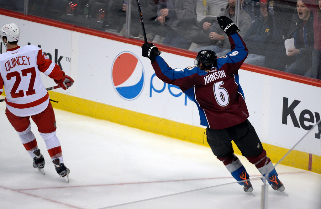 . Colorado Avalanche defenseman Erik Johnson (6) celebrates his goal in the second period against the Detroit Red Wings October 17, 2013 at Pepsi Center.(Photo by John Leyba/The Denver Post)