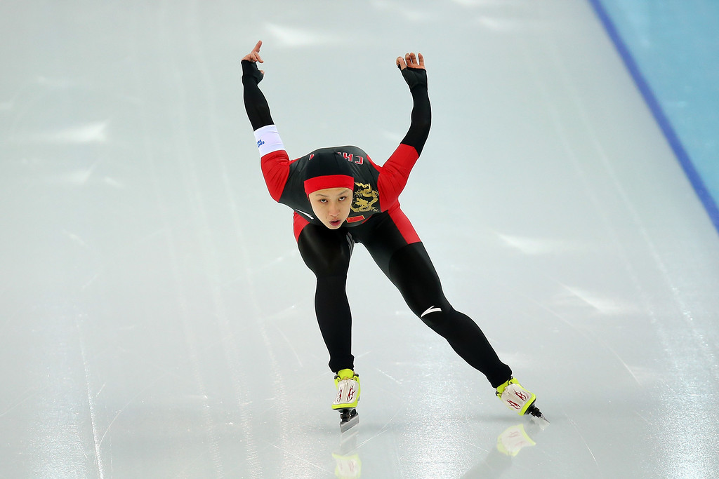 . Dan Li of China competes during the Women\'s 1000m Speed Skating event on day 6 of the Sochi 2014 Winter Olympics at Adler Arena Skating Center on February 13, 2014 in Sochi, Russia.  (Photo by Quinn Rooney/Getty Images)