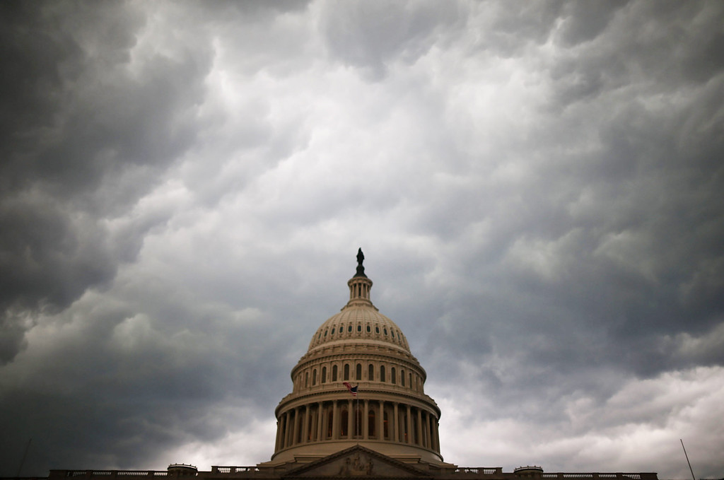 . Storm clouds fill the sky over the U.S. Capitol Building, June 13, 2013 in Washington, DC. Potentially damaging storms are forecasted to hit parts of the east coast with potential for causing power wide spread outages.  (Photo by Mark Wilson/Getty Images)