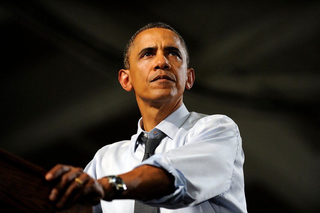 . President Barack Obama speaks to supporters at the Grand Junction High School gym in Grand Junction, CO on Wednesday, August 8, 2012. Hyoung Chang, The Denver Post