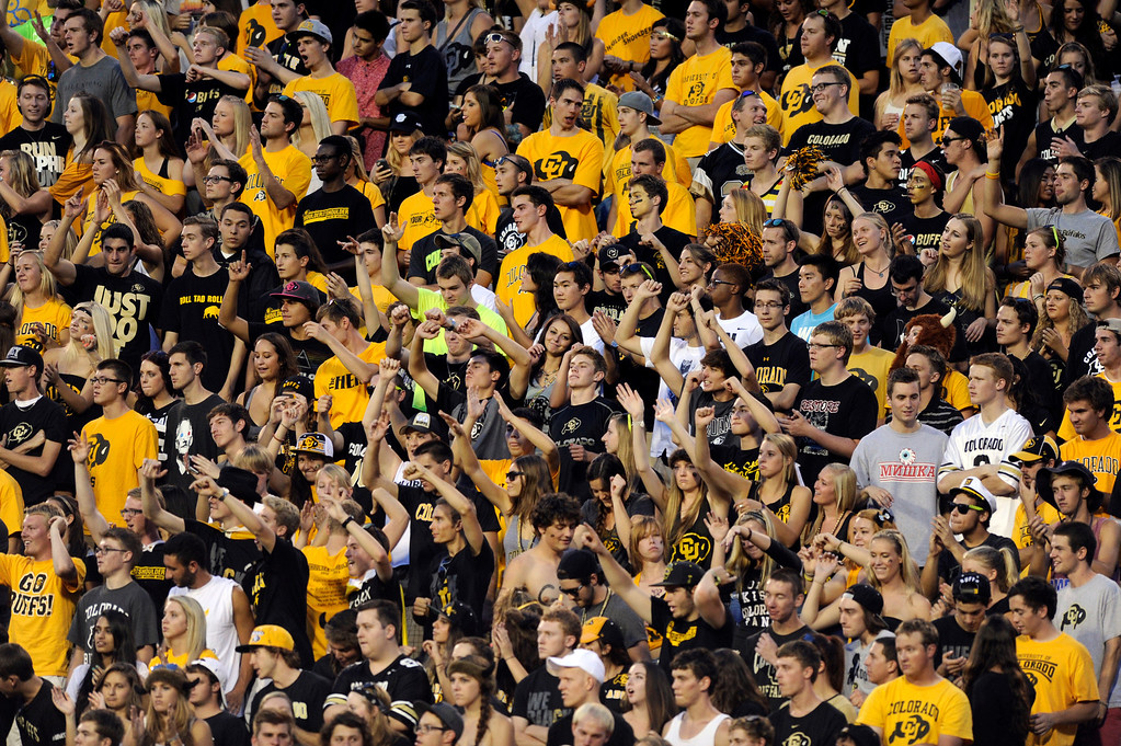 . BOULDER, CO. - SEPTEMBER 76: The student section showed Buffs pride in the first half. The University of Colorado football team hosted Central Arkansas at Folsom Field Saturday night, September 7, 2013. Photo By Karl Gehring/The Denver Post