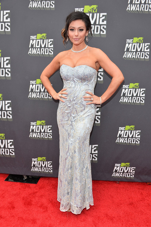 ". TV personality Jennifer ""JWoww\"" Farley arrives at the 2013 MTV Movie Awards at Sony Pictures Studios on April 14, 2013 in Culver City, California.  (Photo by Alberto E. Rodriguez/Getty Images)"