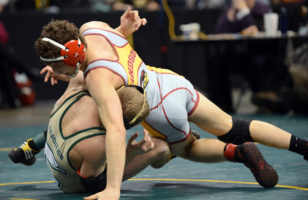 . DENVER, CO. - FEBRUARY 23: Kennen Lanteri of Windsor High School, top, controls Cody Soulka of Falcon High School during 4A 152 pound class final of High School State Championship at Pepsi Center February 23, 2013. Denver, Colorado. Lanteri won the match. (Photo By Hyoung Chang/The Denver Post)