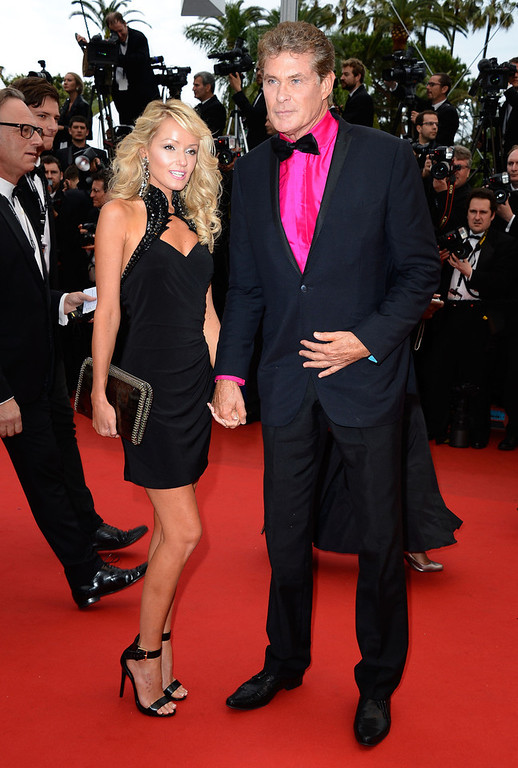 . David Hasselhoff (R) and Hayley Roberts attend the \'Jeune & Jolie\' premiere during The 66th Annual Cannes Film Festival at the  Palais des Festivals on May 16, 2013 in Cannes, France.  (Photo by Pascal Le Segretain/Getty Images)