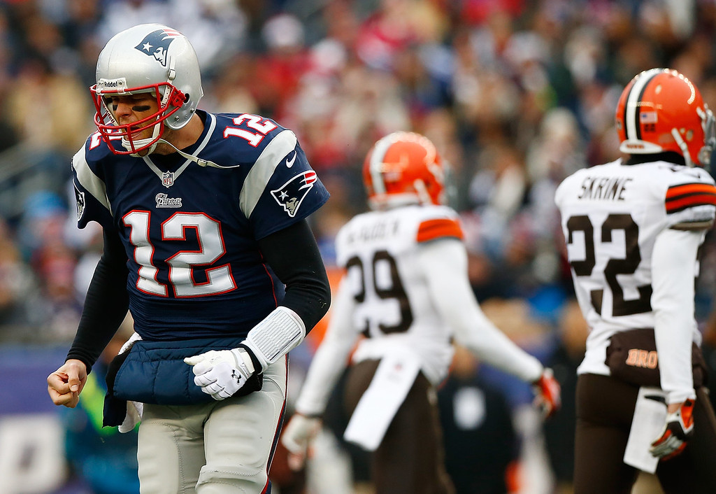 . Tom Brady #12 of the New England Patriots reacts following a failed third down conversion in the second quarter against the Cleveland Browns during the game at Gillette Stadium on December 8, 2013 in Foxboro, Massachusetts.  (Photo by Jared Wickerham/Getty Images)