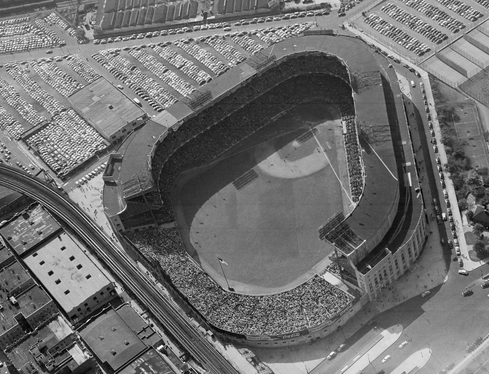 . This is an aerial view of New York\'s Yankee Stadium, shown Sept. 30, 1953, as the Yanks beat the Brooklyn Dodgers, 9-5, in the 1953 World Series.  (AP Photo)
