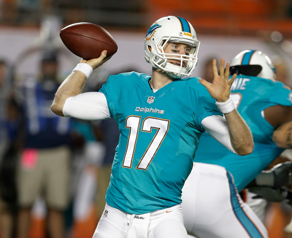 . Miami Dolphins quarterback Ryan Tannehill looks to pass during the first half of an NFL football game against the Cincinnati Bengals, Thursday, Oct. 31, 2013, in Miami Gardens, Fla. (AP Photo/Lynne Sladky)