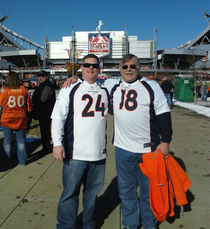 . My son and I outside Mile High before the Chiefs @ Broncos game on 30 Dec. 2012 - GO BRONCOS!! George Shileikis